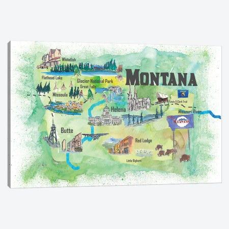 USA, Montana Illustrated Travel Poster Canvas Print #MMB60} by Markus & Martina Bleichner Canvas Art Print