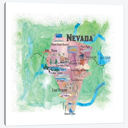 USA, Nevada Illustrated Travel Poster Canvas Print #MMB61} by Markus & Martina Bleichner Canvas Print