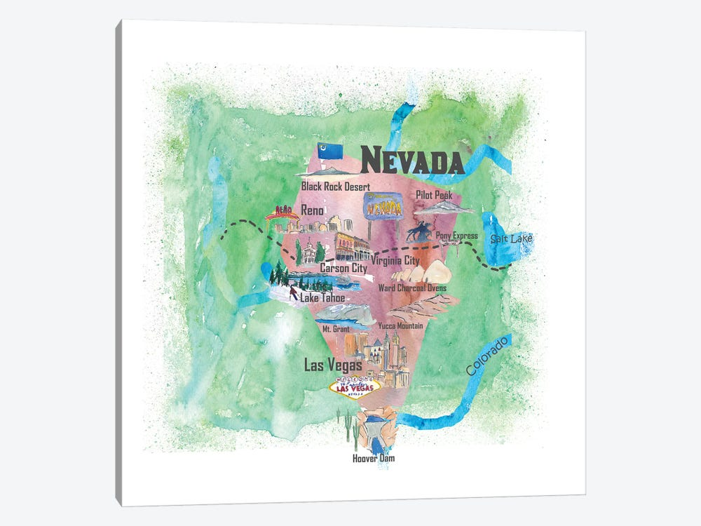 USA, Nevada Illustrated Travel Poster by Markus & Martina Bleichner 1-piece Canvas Wall Art