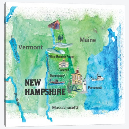 USA, New Hampshire State Travel Poster Canvas Print #MMB62} by Markus & Martina Bleichner Canvas Art Print