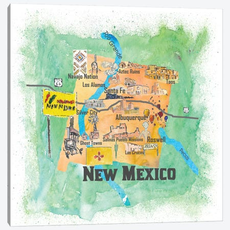 USA, New Mexico Illustrated Travel Poster Canvas Print #MMB63} by Markus & Martina Bleichner Art Print