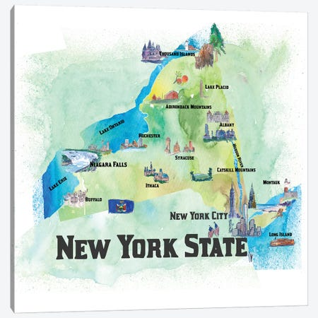 USA, New, York State Travel Poster Canvas Print #MMB64} by Markus & Martina Bleichner Canvas Art