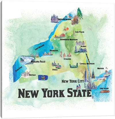 USA, New, York State Travel Poster Canvas Art Print