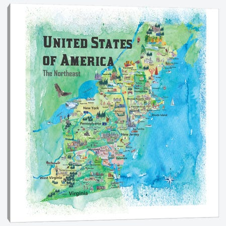 USA, Northeast States Travel Map Canvas Print #MMB65} by Markus & Martina Bleichner Canvas Wall Art