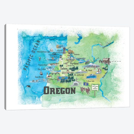 USA, Oregon Illustrated Travel Poster Canvas Print #MMB67} by Markus & Martina Bleichner Canvas Art