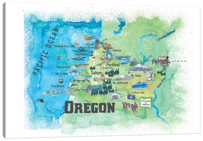 USA, Oregon Illustrated Travel Poster Canvas Art Print