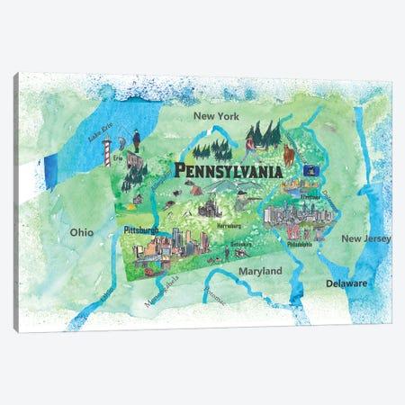 USA, Pennsylvania State Travel Poster Map Canvas Print #MMB68} by Markus & Martina Bleichner Canvas Art Print