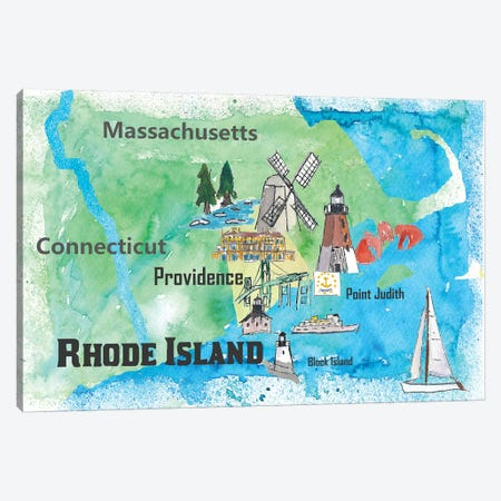 USA, Rhode Island State Travel Poster Map Canvas Print #MMB69} by Markus & Martina Bleichner Canvas Art Print