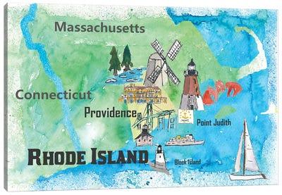 USA, Rhode Island State Travel Poster Map Canvas Art Print