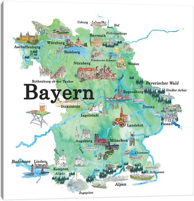 Bayern, Germany Illustrated Travel Poster Canvas Art Print