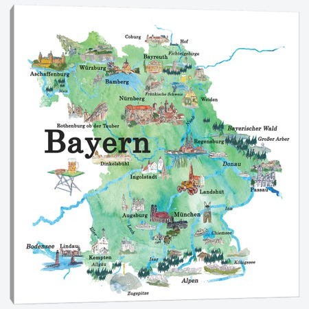 Bayern, Germany Illustrated Travel Poster Canvas Print #MMB6} by Markus & Martina Bleichner Canvas Wall Art