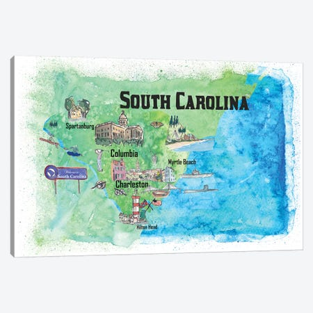 USA, South Carolina Illustrated Travel Poster 3-Piece Canvas #MMB70} by Markus & Martina Bleichner Canvas Art