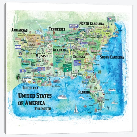 USA, Southern States Travel Poster Canvas Print #MMB71} by Markus & Martina Bleichner Canvas Art