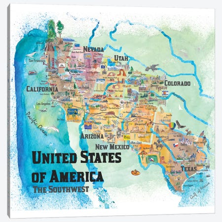 USA, Southwest States Travel Poster Map Canvas Print #MMB72} by Markus & Martina Bleichner Canvas Wall Art
