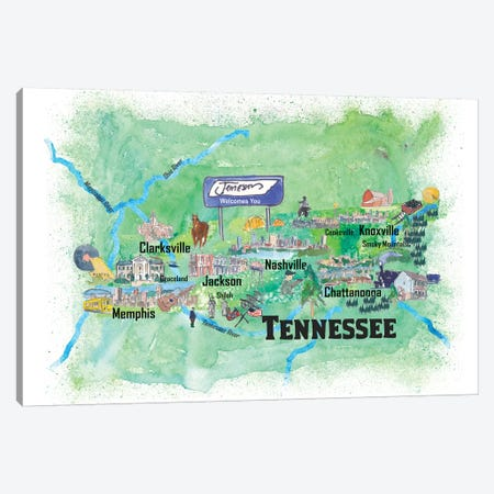 USA, Tennessee Illustrated Travel Poster Canvas Print #MMB73} by Markus & Martina Bleichner Canvas Art