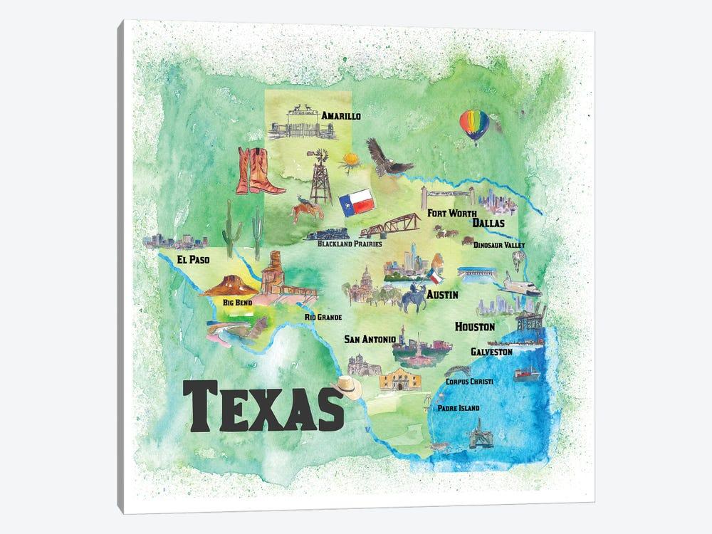 USA, Texas Travel Poster by Markus & Martina Bleichner 1-piece Canvas Wall Art
