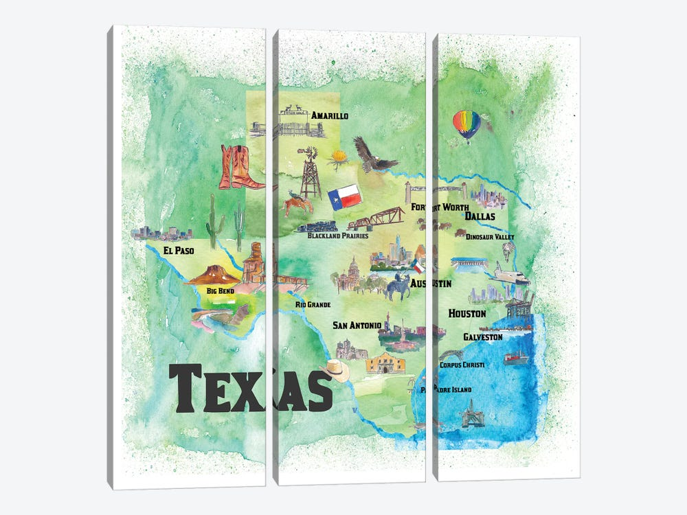 USA, Texas Travel Poster by Markus & Martina Bleichner 3-piece Canvas Artwork