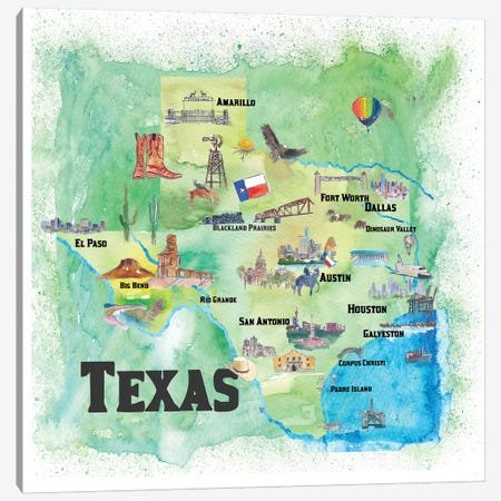 USA, Texas Travel Poster Canvas Print #MMB74} by Markus & Martina Bleichner Canvas Art Print