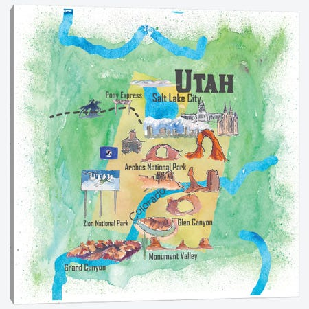 USA, Utah Illustrated Travel Poster 3-Piece Canvas #MMB75} by Markus & Martina Bleichner Canvas Art Print