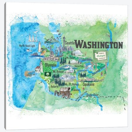 USA, Washington Illustrated Travel Poster Canvas Print #MMB78} by Markus & Martina Bleichner Canvas Artwork