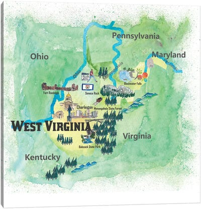 USA, West Virginia State Travel Poster Map Canvas Art Print