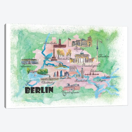 Berlin, Germany Travel Poster Canvas Print #MMB7} by Markus & Martina Bleichner Canvas Art