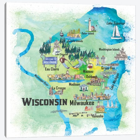 USA, Wisconsin Illustrated Travel Poster Canvas Print #MMB80} by Markus & Martina Bleichner Canvas Art Print