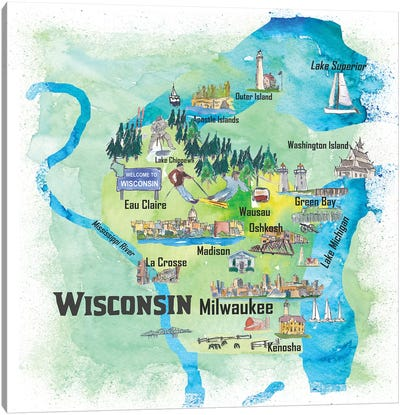 USA, Wisconsin Illustrated Travel Poster Canvas Art Print
