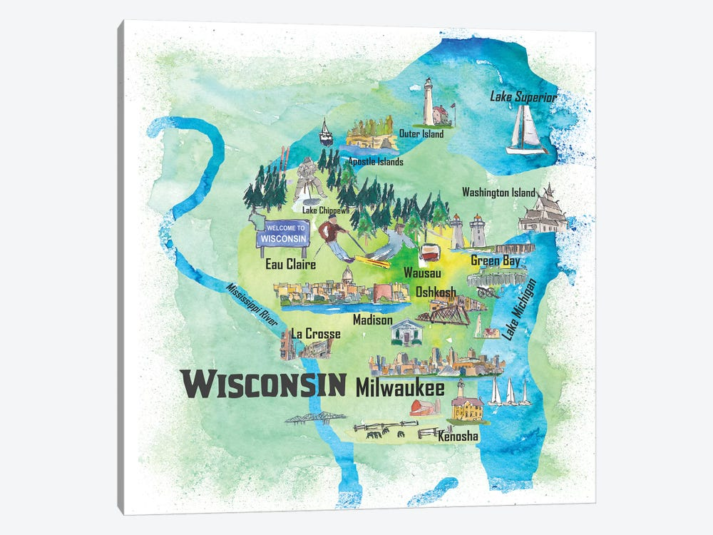 USA, Wisconsin Illustrated Travel Poster by Markus & Martina Bleichner 1-piece Canvas Print
