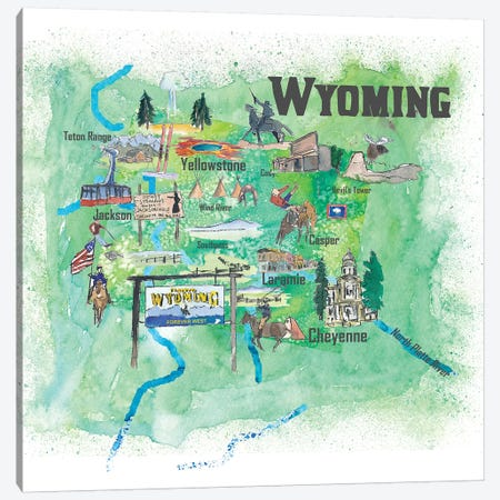 USA, Wyoming Illustrated Travel Poster Canvas Print #MMB81} by Markus & Martina Bleichner Art Print