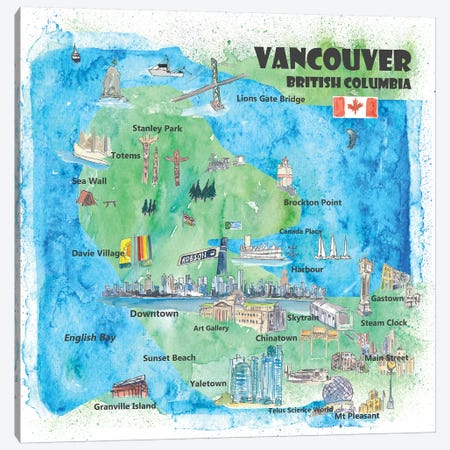 Vancouver, British Columbia, Canada Travel Poster Canvas Print #MMB82} by Markus & Martina Bleichner Art Print