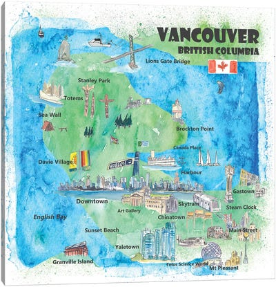 Vancouver, British Columbia, Canada Travel Poster Canvas Art Print