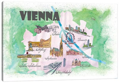 Vienna, Austria Travel Poster Canvas Art Print