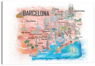 Barcelona Illustrated Travel Map with Main Roads, Landmarks and Highlights Canvas Art Print