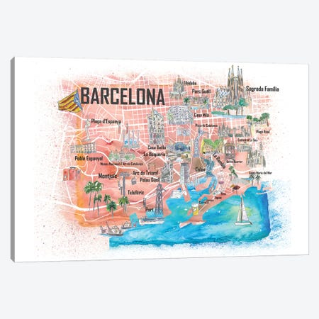 Barcelona Illustrated Travel Map with Main Roads, Landmarks and Highlights Canvas Print #MMB84} by Markus & Martina Bleichner Canvas Art