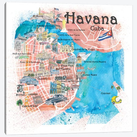 Havana Cuba Illustrated Map Canvas Print #MMB85} by Markus & Martina Bleichner Canvas Artwork