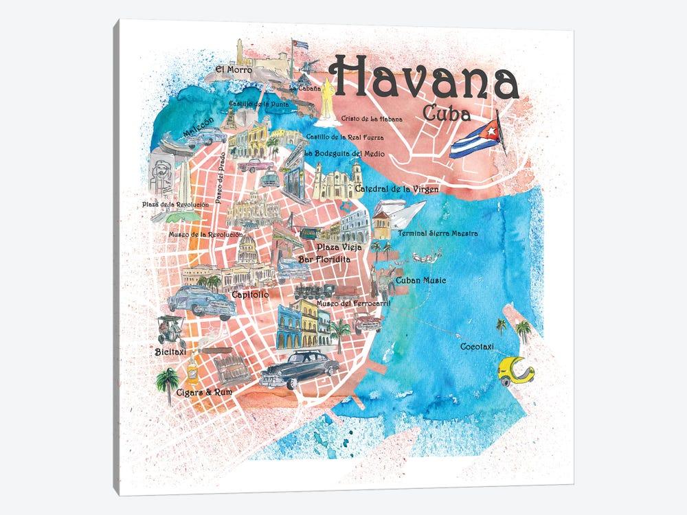 Havana Cuba Illustrated Map by Markus & Martina Bleichner 1-piece Canvas Wall Art