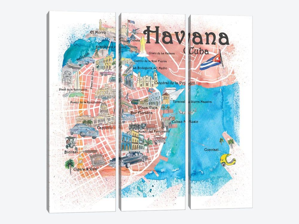 Havana Cuba Illustrated Map by Markus & Martina Bleichner 3-piece Canvas Artwork