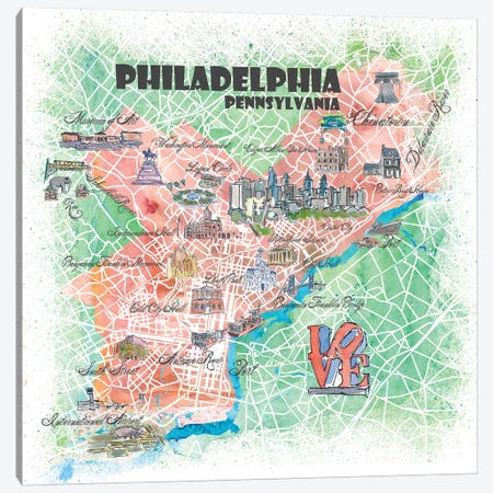 Philadelphia Pennsylvania Illustrated Map Canvas Print #MMB86} by Markus & Martina Bleichner Canvas Art