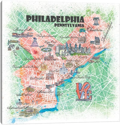 Philadelphia Pennsylvania Illustrated Map Canvas Art Print
