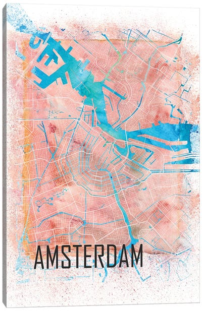 Amsterdam Netherlands Clean Iconic City Map Canvas Art Print