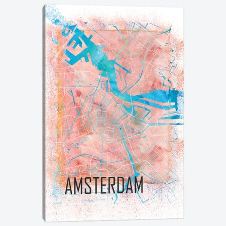 Amsterdam Netherlands Clean Iconic City Map Canvas Print #MMB87} by Markus & Martina Bleichner Canvas Wall Art