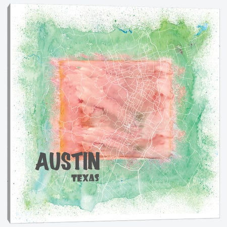 Austin Texas Usa Clean Iconic City Map Canvas Print #MMB89} by Markus & Martina Bleichner Canvas Art Print