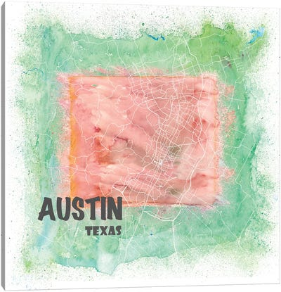 Austin Texas Usa Clean Iconic City Map Canvas Art Print