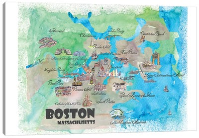 Boston, Massachusetts Travel Poster Canvas Art Print