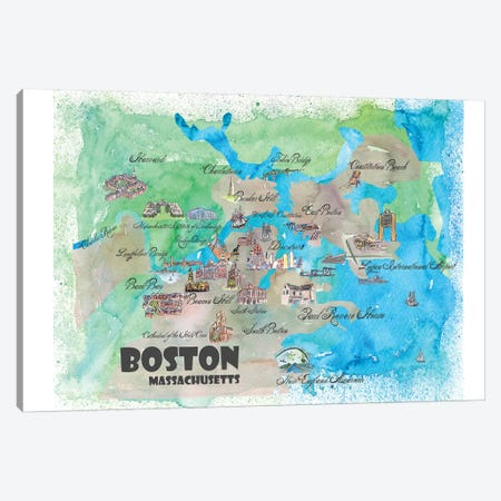 Boston, Massachusetts Travel Poster 3-Piece Canvas #MMB8} by Markus & Martina Bleichner Art Print