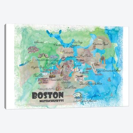 Boston, Massachusetts Travel Poster Canvas Print #MMB8} by Markus & Martina Bleichner Art Print