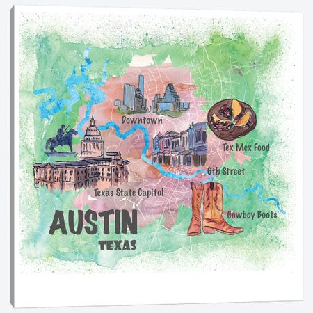 Austin Texas Usa Illustrated Map With Main Roads Landmarks And Highlights Canvas Print #MMB90} by Markus & Martina Bleichner Canvas Artwork
