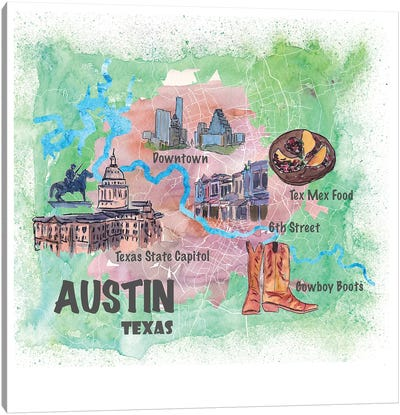 Austin Texas Usa Illustrated Map With Main Roads Landmarks And Highlights Canvas Art Print
