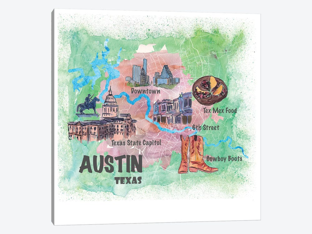 Austin Texas Usa Illustrated Map With Main Roads Landmarks And Highlights by Markus & Martina Bleichner 1-piece Canvas Art